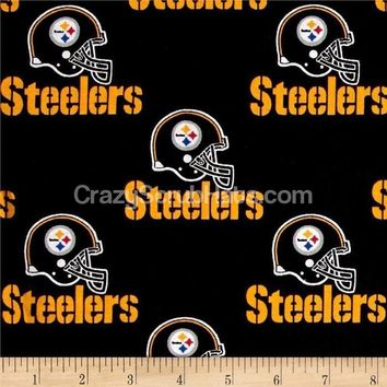 Women's Ponytail Surgical Scrub Hat in Pittsburgh Steelers Black