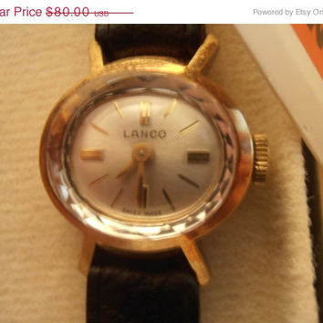 ON SALE LANCO Rare Swiss Ellegant Lady's 1970's Wristwatch Nib with tags