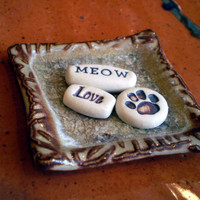 "Cat Lover Gift, Pet Memorial, ""Meow, Love, Paw Print"""