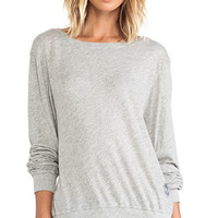 Wildfox Couture Varsity Basic Tissue Jersey Baggy Beach Jumper in Gray