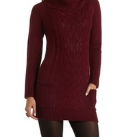 Cowl Neck Cable Knit Sweater Dress by Charlotte Russe - Red