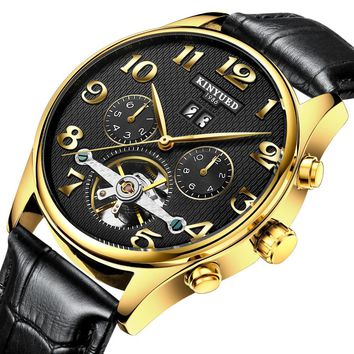 kinyued Mechanical Watch Men Skeleton Watch Wrist Tourbillon Watches Men Top Brand Watch Men Leather Straps Men Automatic Clock