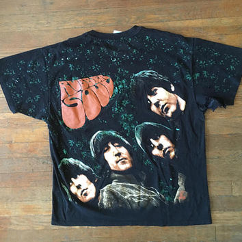 Vintage 1990s THE BEATLES Rubber Soul All Over Print Black Concert Tour T-SHIRT Size Extra Large Pink Floyd Led Zeppelin