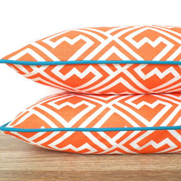 Turquoise and orange pillow cover 20x12, geometric cushion modern home decor, orange lumbar pillow piping, orange and teal pillow case