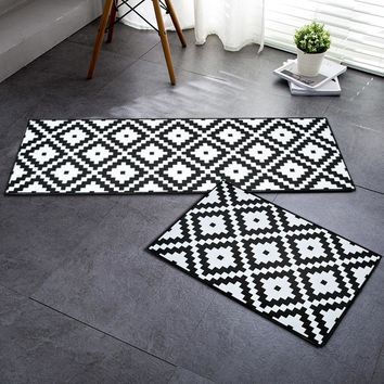 Autumn Fall welcome door mat doormat RAYUAN Flannel Black and White Geometric Kitchen Floor Mats  Long Carpets Anti-slip  Rug Home Decor AT_76_7