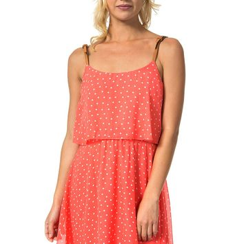 Teeze Me | Spaghetti Strap Polka Dot Dress | Coral/Off-White