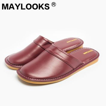 New  Winter Ladies PU Leather Slippers Warm Candy Color Indoor Slipper Thicken Waterproof Lover Home House Shoe for Women 8833