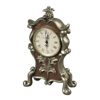 Desk Clock In Antique Silver And Chestnut