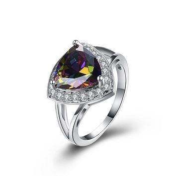925 Sterling Silver Unique Casual Rings  Mystic Topaz Triangular Cocktail Ring in 18K White Gold