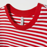 Short T-shirt - Red/white striped - Ladies | H&M US
