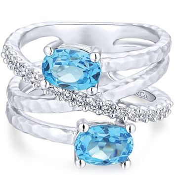 Gabriel Sterling Silver Blue Topaz and White Sapphire Ring