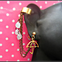 umbrella and rain drops ear cuff  by alapopjewelry