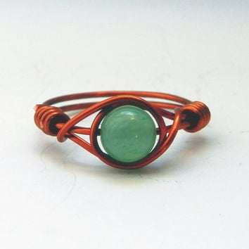 Aventurine Ring, Green Aventurine, Copper Band, Boho Rings, Gemstone Ring, Semi Precious Jewellery, Healing Gemstones, Healing Stone