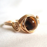 Genuine Tiger Eye Gemstone Ring, Gold Filled Scroll, Wire Wrapped Ring, Tigereye Ring, Tigers Eye Gold Ring, Brown and Gold Ring