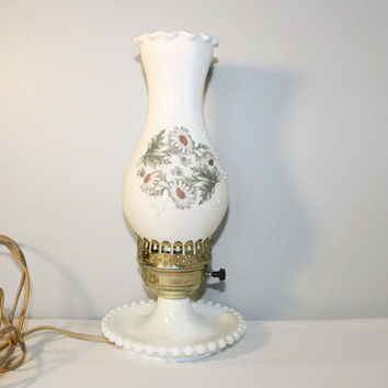 Vintage Milk Glass Hobnail Hurricane Lamp, Daisy Home Lighting Decor