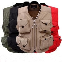 Men's Vest 2018 Vest Working Vest Summer Tactical Hunt Vest With Pockets For Mens Jackets