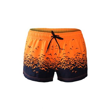 Orange Black Sea Gull Printed Women Swim Shorts