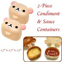 San-X Rilakkuma Small Condiment Containers 2-Piece Set: Little Bear