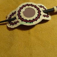 Native American Style Rosette stitched Hairstick barrette in Off white,Red and black