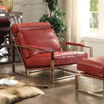 Shop ACME Furniture Quinto Midcentury Antique Red Leather Accent Chair at Lowes.com