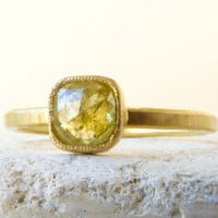 Rose Cut, Rustic Diamond Engagement Ring  -  Yellow Diamond (0.55 cts).  18k Gold. Milgrain Detail Size 7 (O)