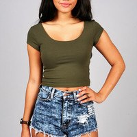 Scoop Out Cropped Top | Basic Tops at Pink Ice