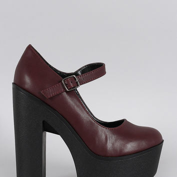 Soda Mary Jane Contrast Lug Sole Platform Pump