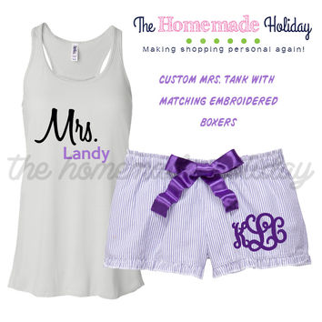 Mrs. Bitty Boxer Pajama Set in Purple