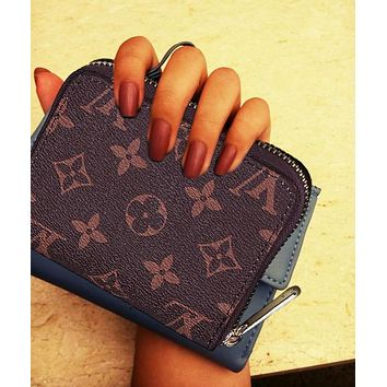 LV Fashion Casual  Women Print Leather Purse Wallet Coffee Print