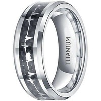 CERTIFIED 8mm Titanium Rings Heartbeat Cardiogram Black Carbon Fiber Engagement Wedding Band