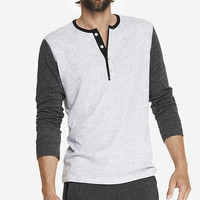 COLOR BLOCK JERSEY HENLEY TEE from EXPRESS