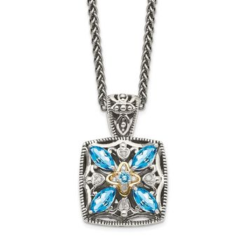 Sterling Silver Two Tone Silver And Gold Plated Sterling Silver w/Diamond & Blue Topaz Necklace