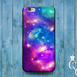 iPhone 4 4s 5 5s 5c 6 6s plus iPod Touch 4th 5th 6th Generation Cute Blue Purple Blue Pink Galaxy Space Fantasy Case Cool Nebula Phone Cover