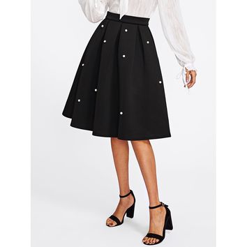 Pearl Embellished Boxed Pleated Circle Skirt Black