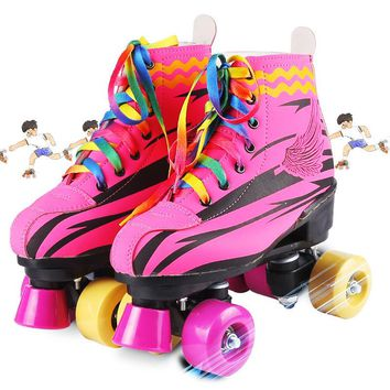 Lovely Kids Girl Pink Double Line Adult Quad Parallel Figure Skates Shoes Boots PU 4 Wheels Shockproof With Brake Breathable