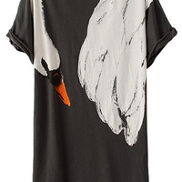 Short Sleeve Swan Print T-Shirt