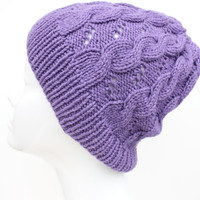 Hand knit wool, cashmere hat. purple cable hat.