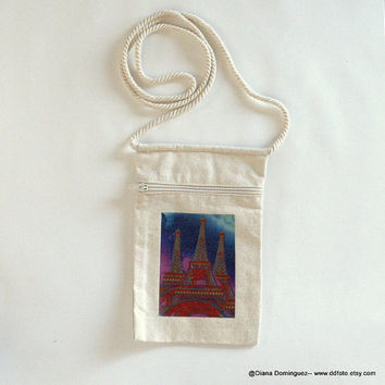 "Cotton Canvas Purse with a design of three Eiffel Towers- String Purse, Beige Purse, Natural Fabrice  - Triple Paris Photo  9"" x 5.5"""