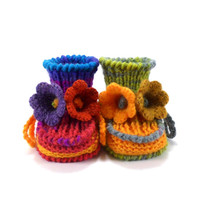 Baby Booties, Knitted with Crochet Bell Flowers - Blue, Yellow, Green and Red, 3 - 6 months