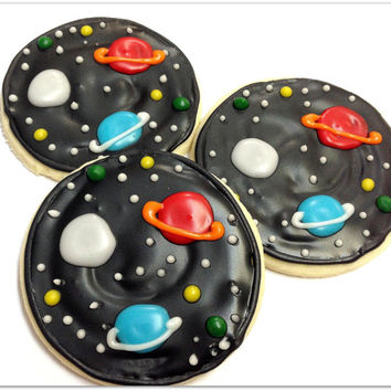 Planet & Stars Sugar Cookies Outer Space Iced Decorated Cookies Birthday Favors