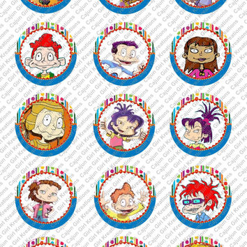 """Rugrats 1"""" Round Circles Bottle Cap Images Cupcake Toppers Instant Download Digital Emailed 4x6"""