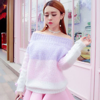 Students sweet sexy dew shoulder sweater pullover