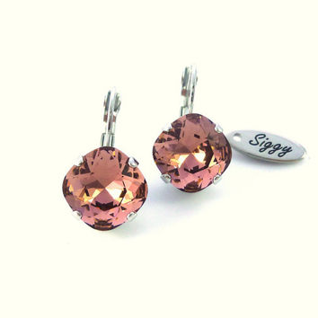 Blush Rose 12mm Cushion cut earrings, drop lever back, designer inspired fancy large stone, Siggy bling