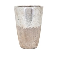 Tala Large Vase - Silver and beige - Benzara