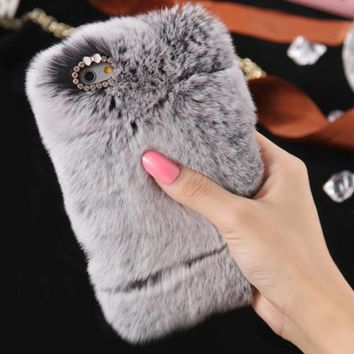 Fluffy Villi Fur Plush Wool Case Cover + PEN + Film For iPhone 5 5G 5S 5th