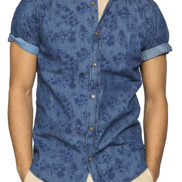 Guys Tonal Floral Print Denim Shirt