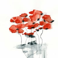 Red Poppy Original Watercolor Painting Abstract Flowers 12x16 Grey Minimalist Bohemian whimsical dreamy nursery wall