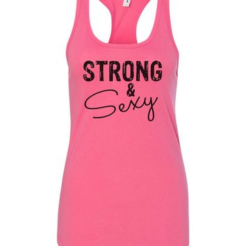 Womens Strong & Sexy Grapahic Design Fitted Tank Top