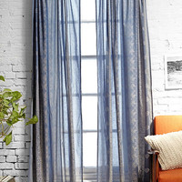 Foil Block Print Blue Curtain - Urban Outfitters