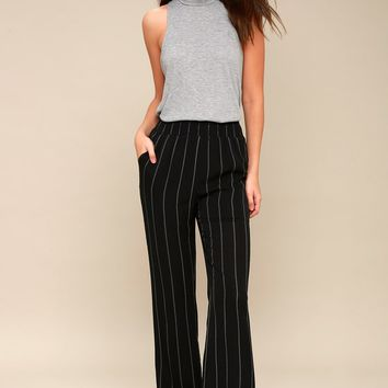 Step To It Black and White Striped Wide-Leg Pants